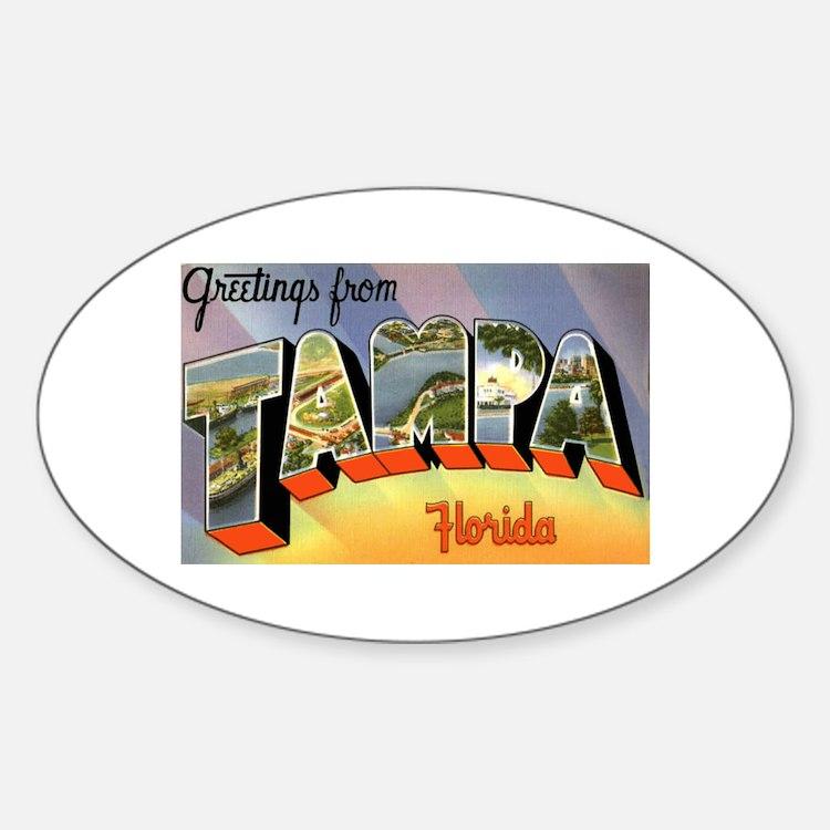 Tampa Florida Greetings Oval Decal