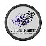 Tribal rabbit Large Wall Clock