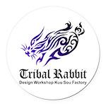 Tribal rabbit Round Car Magnet