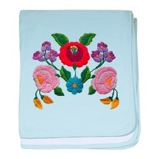 Kalocsai hand embroidery floral pattern baby blank