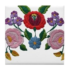 Kalocsai hand embroidery floral pattern Tile Coast