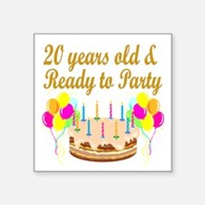 "HAPPY 20TH BIRTHDAY Square Sticker 3"" x 3"""