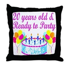 HAPPY 20TH BIRTHDAY Throw Pillow