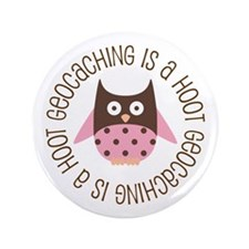 """Funny Geocaching Owl 3.5"""" Button"""