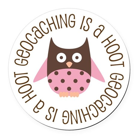 Funny Geocaching Owl Round Car Magnet