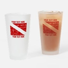 YOUR TEXT FADED DIVE FLAG Drinking Glass