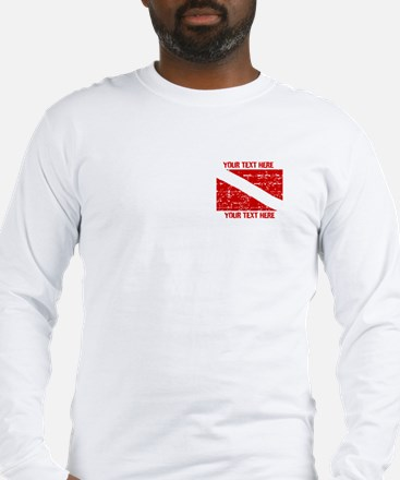 YOUR TEXT FADED DIVE FLAG Long Sleeve T-Shirt