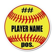 Personalized Fastpitch Softball Round Car Magnet