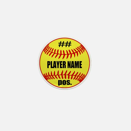 Personalized Fastpitch Softball Mini Button