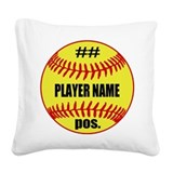 Softball Square Canvas Pillows