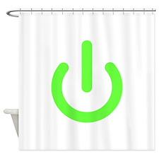 Universal Standby Power Symbol Green Shower Curtai