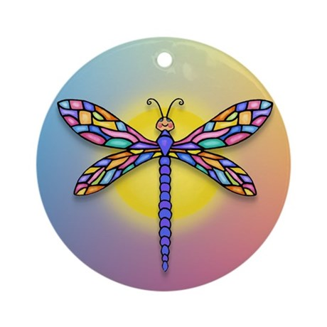 Dragonfly1-Sun-gr1 Ornament (Round)