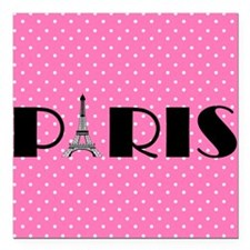 Pink and Black Paris Eiffel Tower Square Car Magne