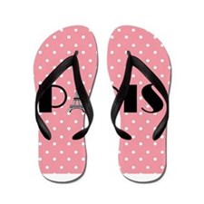 Pink Polka Dot Paris Eiffel Tower Flip Flops