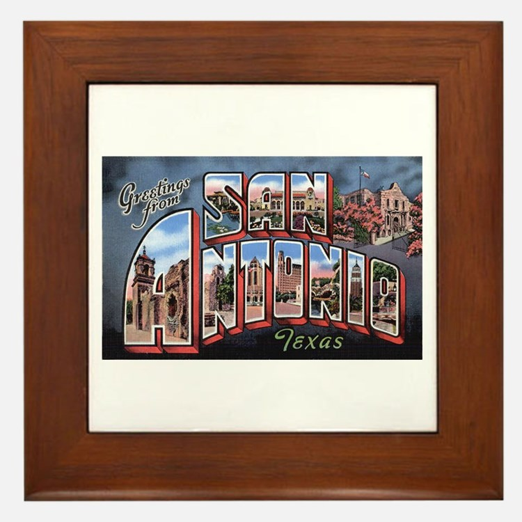 San Antonio Texas Greetings Framed Tile