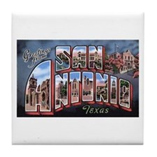 San Antonio Texas Greetings Tile Coaster