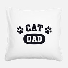 Cat Dad [b/w] Square Canvas Pillow