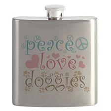 Peace Love Doggies Flask