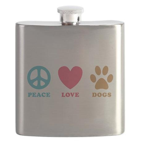 Peace Love Dogs Flask