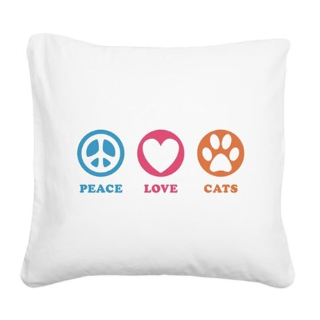 Peace Love Cats [r] Square Canvas Pillow
