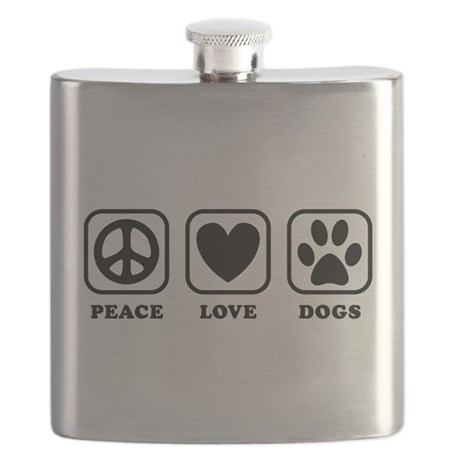 Peace Love Dogs [b/w] Flask