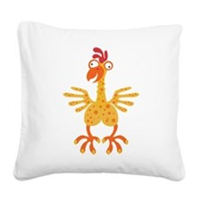 Loony Chicken Square Canvas Pillow
