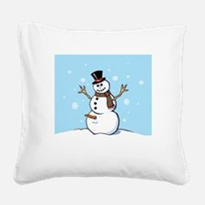 Naughty Snowman Square Canvas Pillow