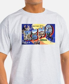Reno Nevada Greetings (Front) Ash Grey T-Shirt