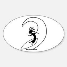 Kokopelli Surfer Oval Decal