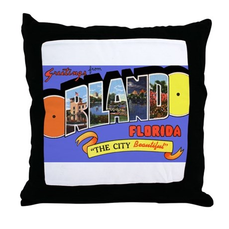 Orlando Florida Greetings Throw Pillow
