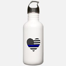 Thin Blue Line Love Water Bottle