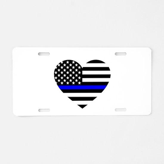 Thin Blue Line Love Aluminum License Plate