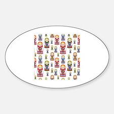 Cute Russia doll Sticker (Oval)