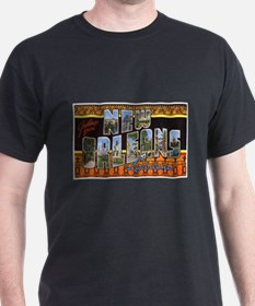 New Orleans Louisiana Greetings (Front) Black T-Sh