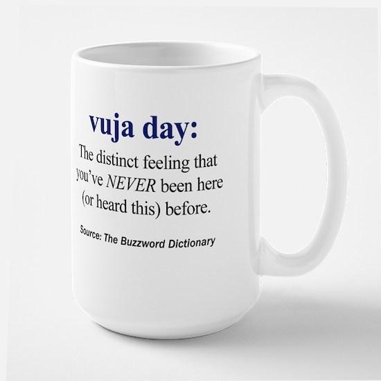 Left-handed vuja day Large Mug