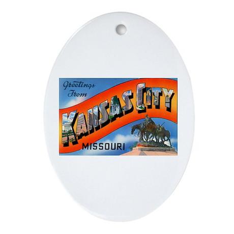Kansas City Missouri Greetings Oval Ornament