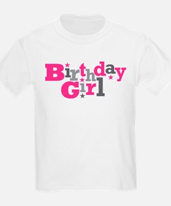 Pink Birthday Girl Star T-Shirt