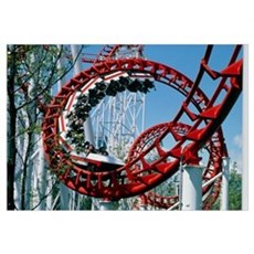 Corkscrew coil on a rollercoaster ride Poster