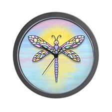 Pastel Dragonfly Wall Clock