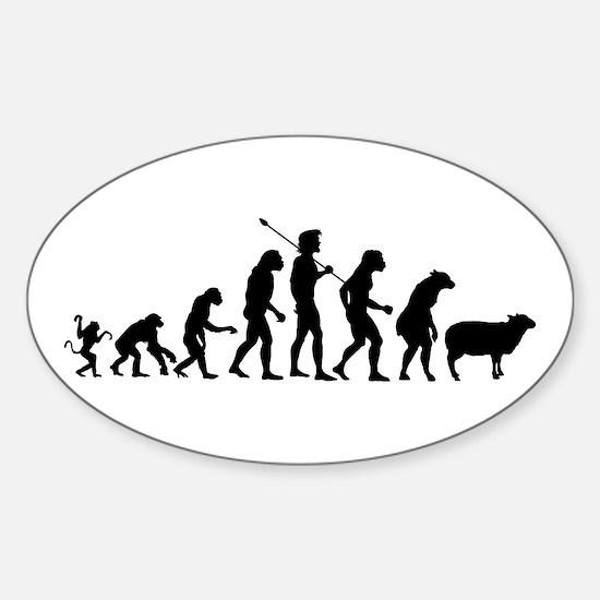 Evolution of Sheeple Sticker (Oval)