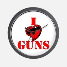 I (Heart) Love Guns Wall Clock