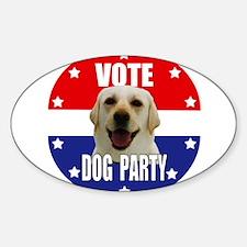 Vote: Dog Party! Sticker (Oval)