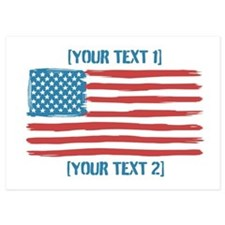 [Your Text] 'Handmade' US Flag 5x7 Flat Cards