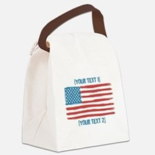 [Your Text] 'Handmade' US Flag Canvas Lunch Bag