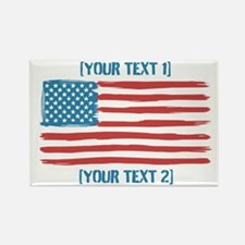 [Your Text] 'Handmade' US Flag Rectangle Magnet (1