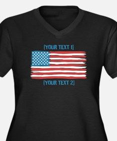 [Your Text] 'Handmade' US Flag Women's Plus Size V