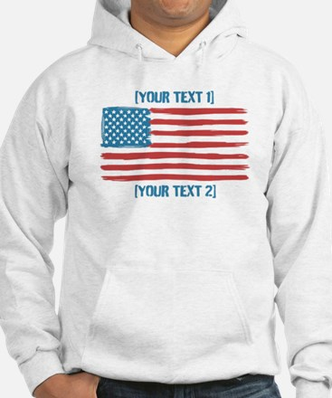 [Your Text] 'Handmade' US Flag Hoodie
