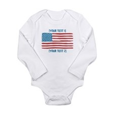 [Your Text] 'Handmade' US Flag Long Sleeve Infant