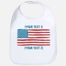 [Your Text] 'Handmade' US Flag Bib