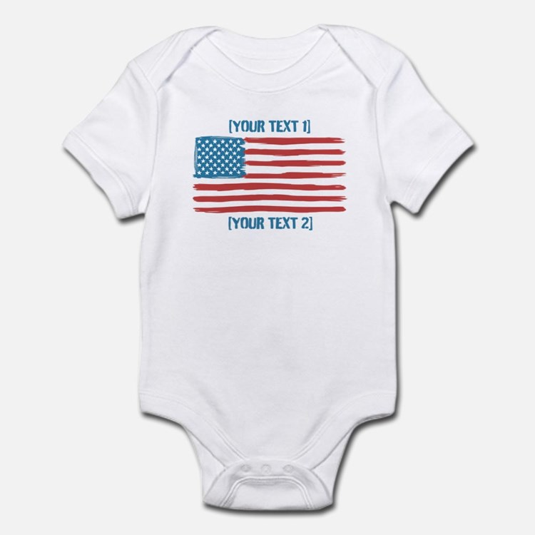 [Your Text] 'Handmade' US Flag Infant Bodysuit